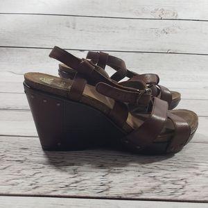 Dansko womens brown sandal wedges size 41